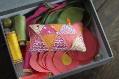 Pincushion in sewing box